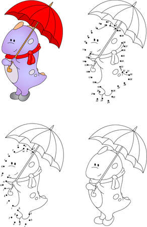 Funny cartoon dragon with an umbrella. Vector illustration. Coloring and dot to dot educational game for kids Illustration