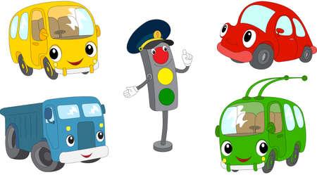 만화 버스, 자동차, 트럭, 무궤도 전차와 신호등의 집합입니다. 벡터 일러스트 레이 션