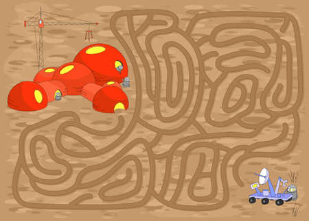 wander: The robot with Mars Rover must find the way to the Space Research Station. Game for kids: go through the maze and find the right answer Illustration