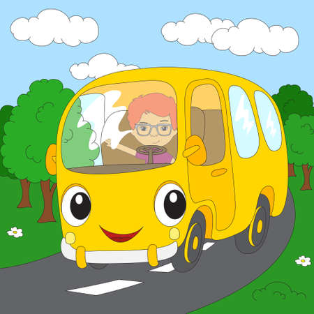 forest road: Cartoon yellow bus in the forest road. Coloring book for kids. Vector illustration Illustration