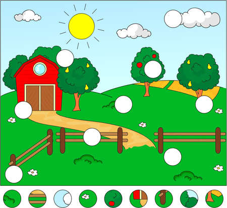 corral: Complete the puzzle and find the missing parts of the picture. Vector illustration. Educational game for kids Illustration