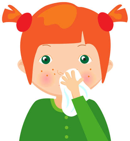 Red-haired sick girl with handkerchief. Vector cartoon illustration
