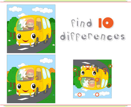 spot the difference: Cartoon yellow bus. Educational game for kids: find ten differences. Vector illustration