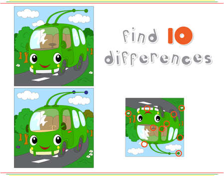 spot the difference: Cartoon green trolleybus. Educational game for kids: find ten differences. Vector illustration Illustration