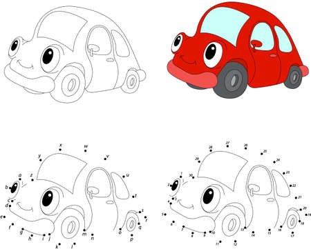 Cartoon red car. Vector illustration. Coloring and dot to dot educational game for kids