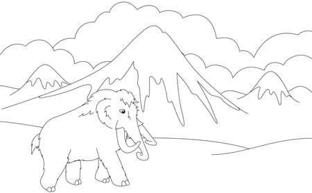 Caricatura Mamut Y El Tigre Dientes De Sable. Juego Educativo Para ...