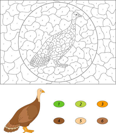 gobbler: Cartoon turkey. Color by number educational game for kids. Vector illustration for schoolchild and preschool