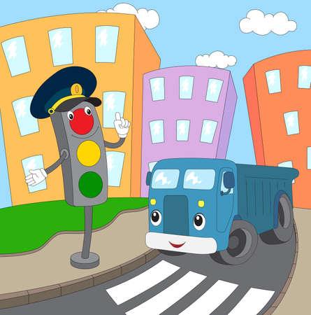 semaforo peatonal: Camión azul de dibujos animados y las luces de tráfico en un paso de peatones.
