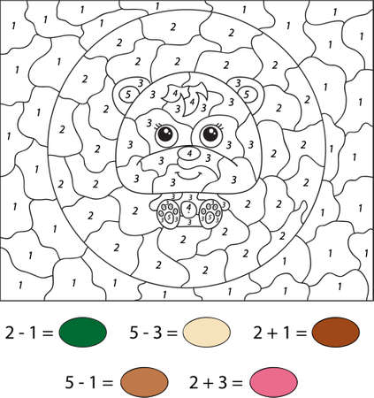 educational problem solving: Cartoon bear. Color by number educational game for kids. Vector illustration for schoolchild and preschool