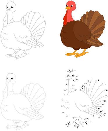 gobbler: Cartoon turkey. Dot to dot educational game for kids. Vector illustration Illustration