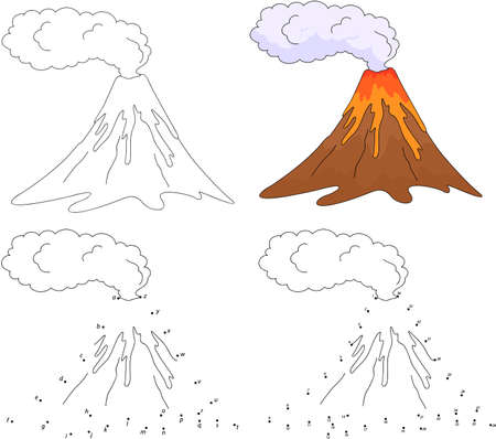 erupting: Cartoon erupting volcano. Vector illustration. Coloring and dot to dot educational game for kids