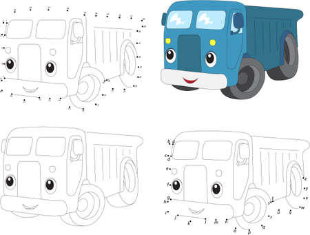 Cartoon blue lorry. Vector illustration. Coloring and dot to dot educational game for kids