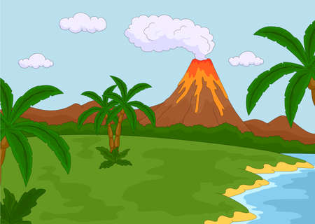 volcanic: Volcanic eruption. Vector illustration