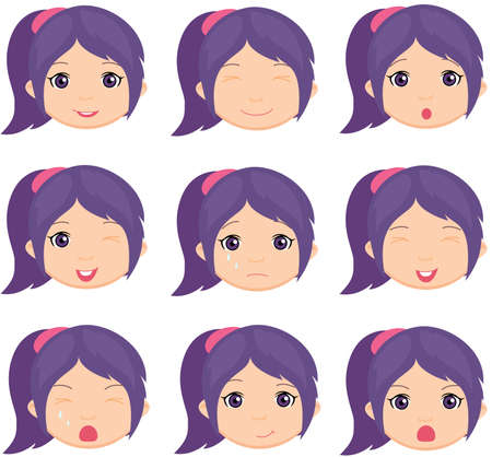 teen girl face: Anime girl emotion: joy, surprise, fear, sadness, sorrow, crying, laughing, cunning wink. Vector cartoon illustration