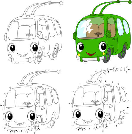Cartoon green trolleybus. Vector illustration. Coloring and dot to dot educational game for kids