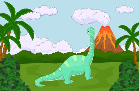diplodocus: Funny cute diplodocus on the background of a prehistoric nature. Educational game for kids. Vector illustration