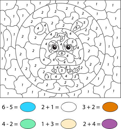 educational problem solving: Cartoon hare. Color by number educational game for kids. Vector illustration for schoolchild and preschool