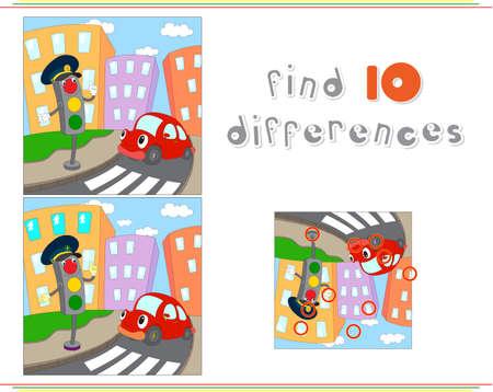 만화 자동차와 신호등. 아이들을위한 교육 게임 : 열 차이점을 찾을 수 있습니다. 벡터 일러스트 레이 션