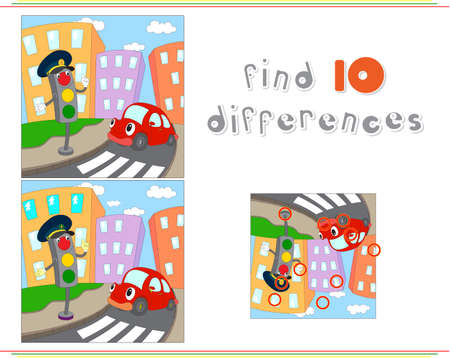 Cartoon car and traffic lights. Educational game for kids: find ten differences. Vector illustration