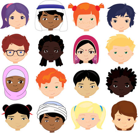 Boys and girls of different nationalities. Multinational children. Kids faces of different cultures. Vector cartoon illustration