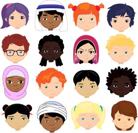 Meninos e meninas de diferentes nacionalidades. Crianças multinacionais. Rostos de crianças de diferentes culturas. Vetorial, caricatura, ilustração