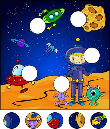 Astronauta, marcianos y cohetes en el espacio. Completar el rompecabezas y encontrar las partes faltantes de la imagen. Ilustración del vector. Juego educativo para los niños
