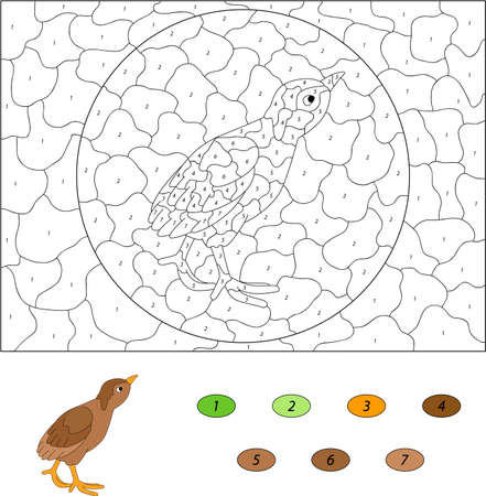 poult: Cartoon poult. Color by number educational game for kids. Vector illustration for schoolchild and preschool