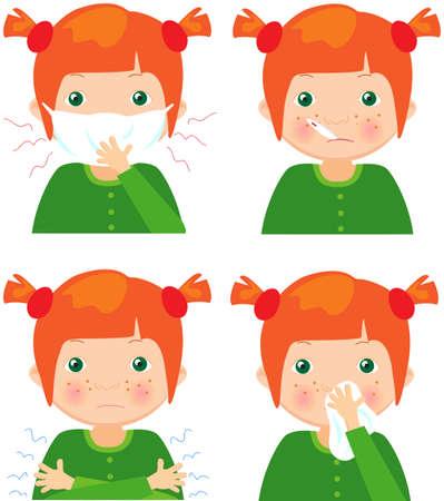 ni�os enfermos: ni�a enferma pelirroja con m�scara de la gripe, un term�metro y un pa�uelo. ilustraci�n de dibujos animados de vectores Vectores