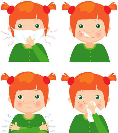 cartoon nose: Red-haired sick girl with flu mask, thermometer and handkerchief. Vector cartoon illustration