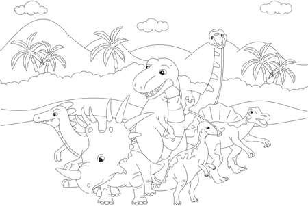 spinosaurus: Styracosaurus, spinosaurus, tyrannosaur, stegosaurus and parasaurolophus. Coloring book. Vector illustration Illustration