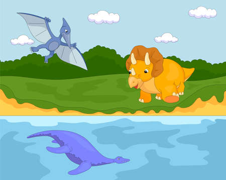 Funny cute pterodactyl, pliosaur and triceratops.