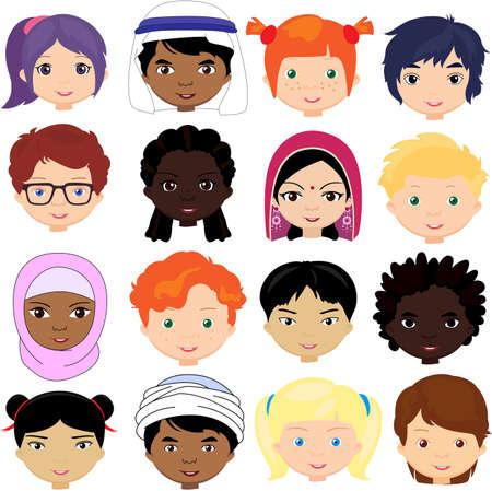 Garçons et filles de différentes nationalités. Vecteurs