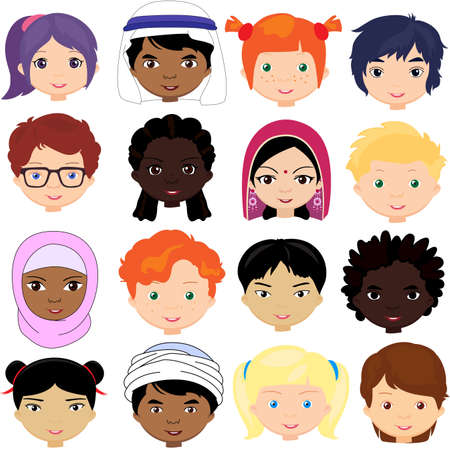 Boys and girls of different nationalities. Stock Illustratie