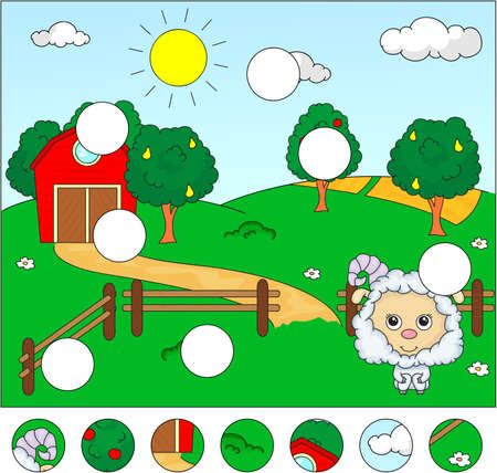 corral: Rural landscape with barn, corral, fields and fruit trees and sheep. Complete the puzzle and find the missing parts of the picture. Vector illustration. Educational game for kids