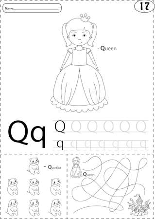 writing a letter: Cartoon queen and quokka. Alphabet tracing worksheet: writing A-Z, coloring book and educational game for kids Illustration