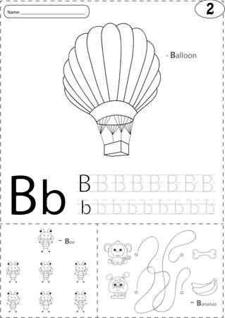 phonetic: Cartoon balloon, bee and bananas. Alphabet tracing worksheet: writing A-Z, coloring book and educational game for kids Illustration