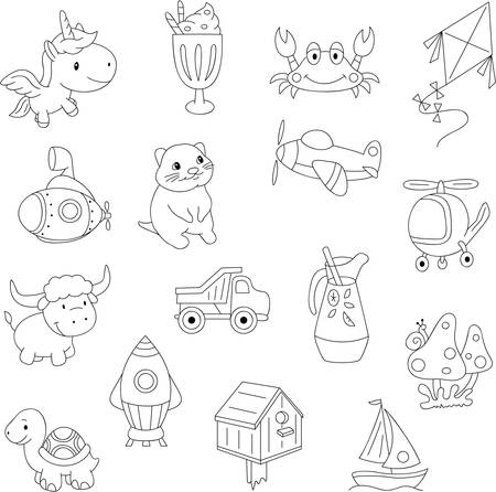 Funny cartoon unicorn, crab, kite, submarine, quokka, helicopter, mushroom, turtle, rocket. Coloring book for kids