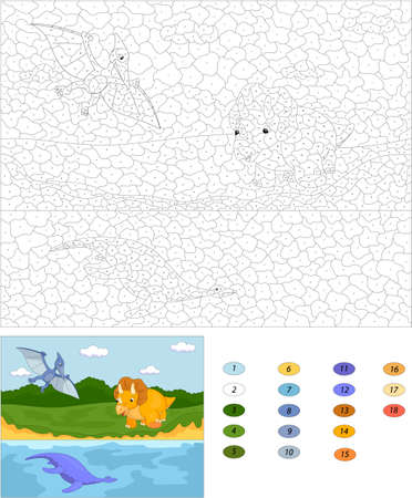 pterodactyl: Funny cute pterodactyl, pliosaur and triceratops. Color by number educational game for kids. Illustration for schoolchild and preschool