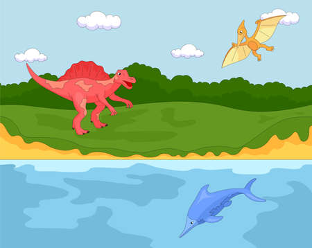 spinosaurus: Funny cute pterodactyl, ichthyosaur and spinosaurus. Educational game for kids. Vector illustration