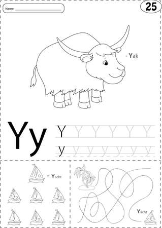 phonetic: Cartoon yak and yacht. Alphabet tracing worksheet: writing A-Z, coloring book and educational game for kids