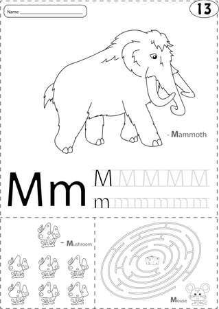 phonetic: Cartoon mammoth, mushroom and mouse. Alphabet tracing worksheet: writing A-Z, coloring book and educational game for kids