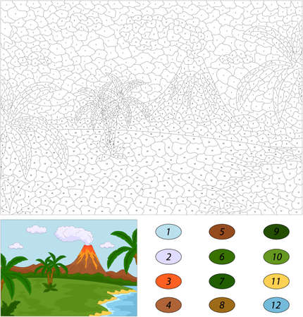 Volcanic eruption. Color by number educational game for kids. Illustration for schoolchild and preschool
