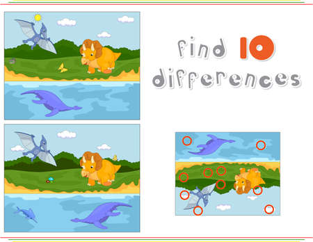 triceratops: Funny cute pterodactyl, pliosaur and triceratops. Educational game for kids: find ten differences