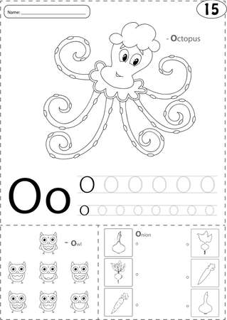 phonetic: Cartoon octopus, owl and onion. Alphabet tracing worksheet: writing A-Z, coloring book and educational game for kids