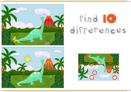 spot the difference: Funny cute diplodocus on the background of a prehistoric nature. Educational game for kids: find ten differences Illustration