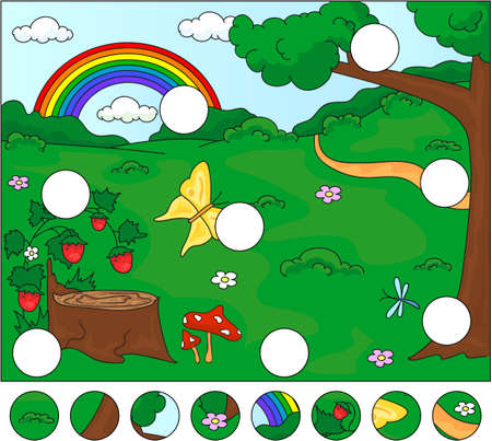 Forest glade with a stub, strawberries, butterfly, trees, rainbow and flowers. Complete the puzzle and find the missing parts of the picture. Vector illustration. Educational game for kids