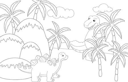 stegosaurus: Funny cute tyrannosaurus and stegosaurus on the background of a prehistoric nature. Educational game for kids. Coloring book