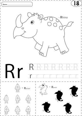 corvo imperiale: Cartoon rinoceronte, rucola e Raven. Alfabeto tracing foglio di lavoro: scrivere AZ, libro da colorare e gioco educativo per i bambini Vettoriali