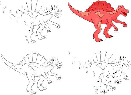 Spinosaurus de dibujos animados. Ilustración del vector. Colorear y punto a punto juego educativo para niños