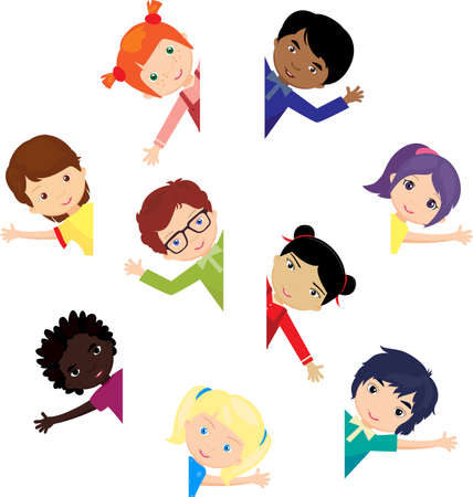 multi racial: Boys and girls Europeans, Africans, Chinese, Japanese, Russian, Americans and other around the globe. Vector illustration